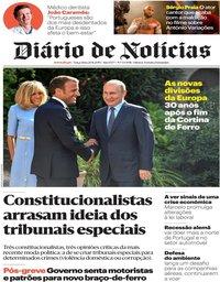 capa Diário de Notícias de 20 agosto 2019