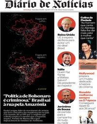 capa Diário de Notícias de 23 agosto 2019