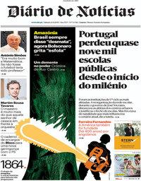 capa Diário de Notícias de 24 agosto 2019