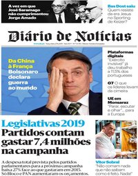 capa Diário de Notícias de 27 agosto 2019