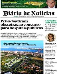 capa Diário de Notícias de 28 agosto 2019