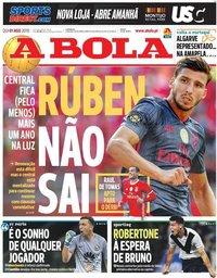 capa Jornal A Bola de 1 agosto 2019
