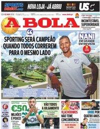 capa Jornal A Bola de 2 agosto 2019