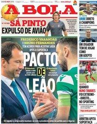 capa Jornal A Bola de 3 agosto 2019