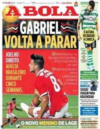 capa Jornal A Bola de 6 agosto 2019