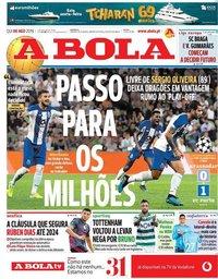 capa Jornal A Bola de 8 agosto 2019