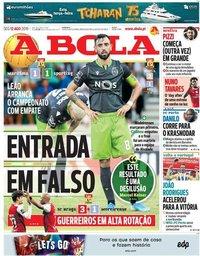 capa Jornal A Bola de 12 agosto 2019