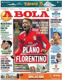 capa Jornal A Bola de 13 agosto 2019