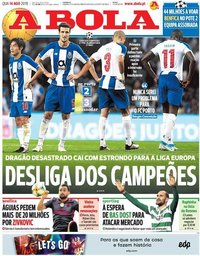 capa Jornal A Bola de 14 agosto 2019