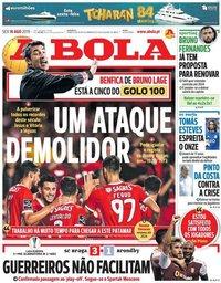 capa Jornal A Bola de 16 agosto 2019