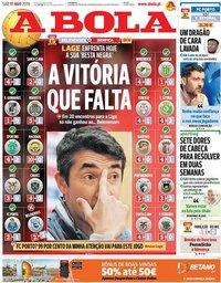 capa Jornal A Bola de 17 agosto 2019