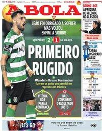 capa Jornal A Bola de 19 agosto 2019