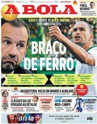 capa Jornal A Bola de 21 agosto 2019