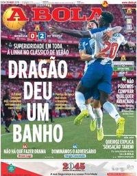 capa Jornal A Bola de 25 agosto 2019