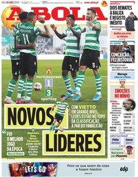 capa Jornal A Bola de 26 agosto 2019