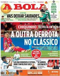 capa Jornal A Bola de 27 agosto 2019