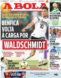 capa Jornal A Bola de 28 agosto 2019