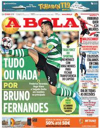 capa Jornal A Bola de 29 agosto 2019