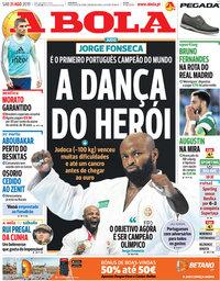 capa Jornal A Bola de 31 agosto 2019