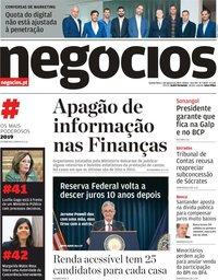 capa Jornal de Negócios de 1 agosto 2019
