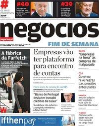 capa Jornal de Negócios de 2 agosto 2019