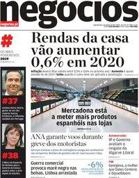 capa Jornal de Negócios de 5 agosto 2019