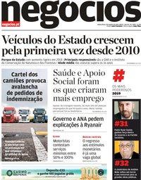 capa Jornal de Negócios de 8 agosto 2019