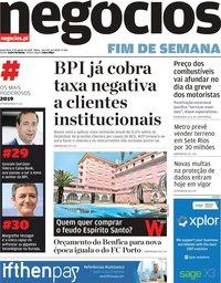 capa Jornal de Negócios de 9 agosto 2019