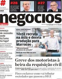 capa Jornal de Negócios de 12 agosto 2019