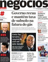 capa Jornal de Negócios de 13 agosto 2019