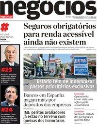 capa Jornal de Negócios de 14 agosto 2019