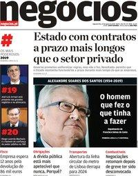 capa Jornal de Negócios de 19 agosto 2019