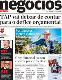 capa Jornal de Negócios de 20 agosto 2019