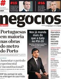 capa Jornal de Negócios de 21 agosto 2019