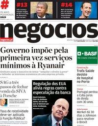 capa Jornal de Negócios de 22 agosto 2019