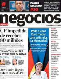 capa Jornal de Negócios de 26 agosto 2019