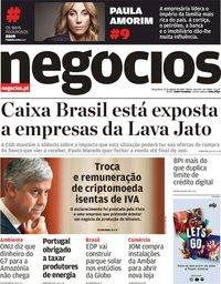 capa Jornal de Negócios de 27 agosto 2019