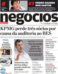 capa Jornal de Negócios de 29 agosto 2019