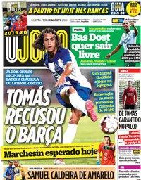 capa Jornal O Jogo de 1 agosto 2019
