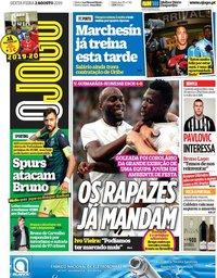 capa Jornal O Jogo de 2 agosto 2019