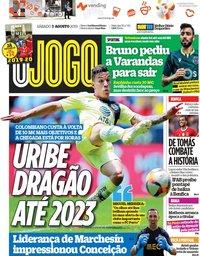 capa Jornal O Jogo de 3 agosto 2019
