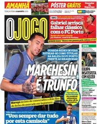 capa Jornal O Jogo de 6 agosto 2019