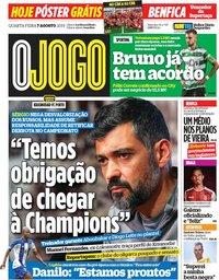 capa Jornal O Jogo de 7 agosto 2019