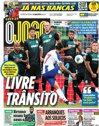 capa Jornal O Jogo de 8 agosto 2019