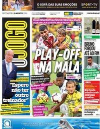 capa Jornal O Jogo de 9 agosto 2019
