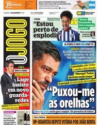 capa Jornal O Jogo de 10 agosto 2019