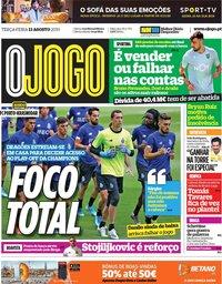 capa Jornal O Jogo de 13 agosto 2019