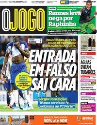 capa Jornal O Jogo de 14 agosto 2019