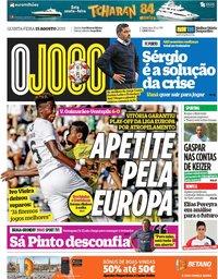 capa Jornal O Jogo de 15 agosto 2019