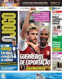 capa Jornal O Jogo de 16 agosto 2019